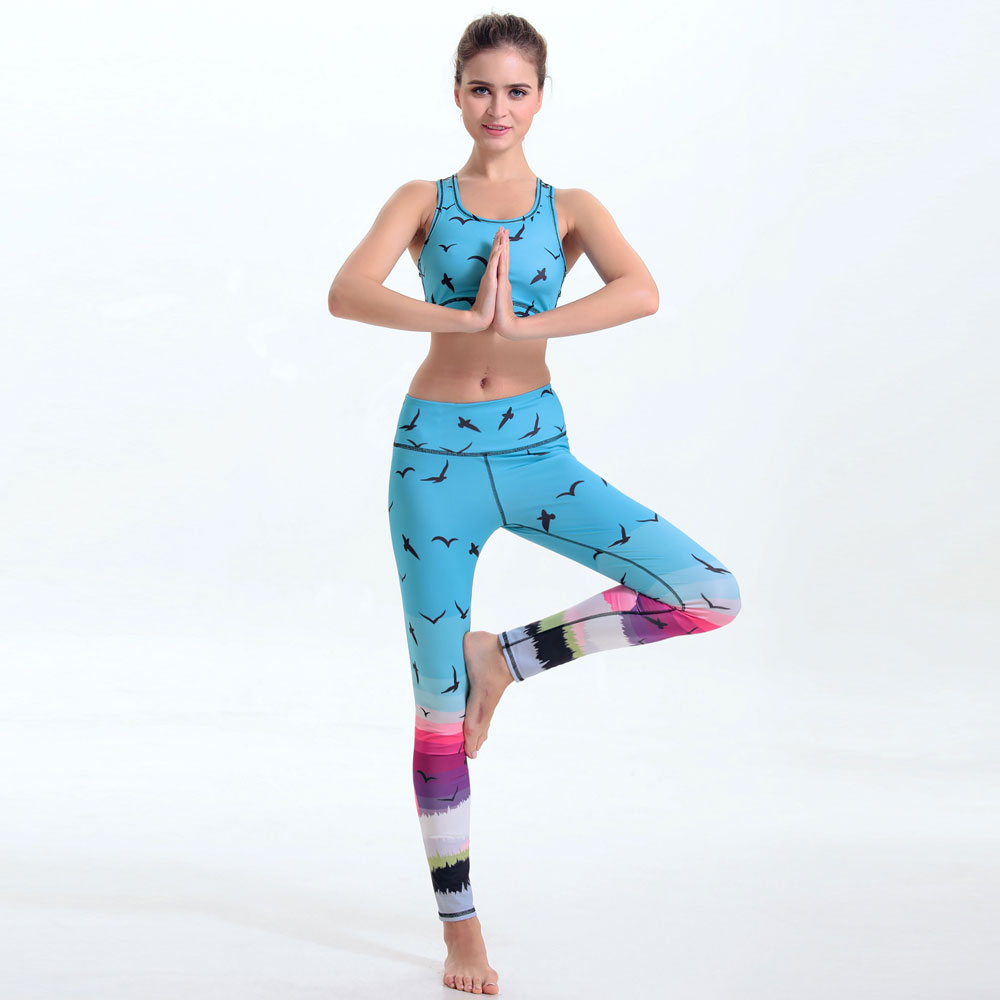 Hot Sale Women Exercise Yuga Set For Sportwear Suit Bohemias Girl Digital Printing Lady Fitness Legging Clothing Workout Set