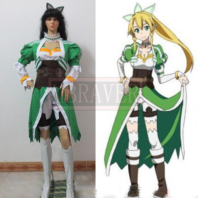 Anime Fairy Dance Sword Art Online SAO LEAFA Cosplay Costume Suguha Kirigaya  Full set Free Shipping