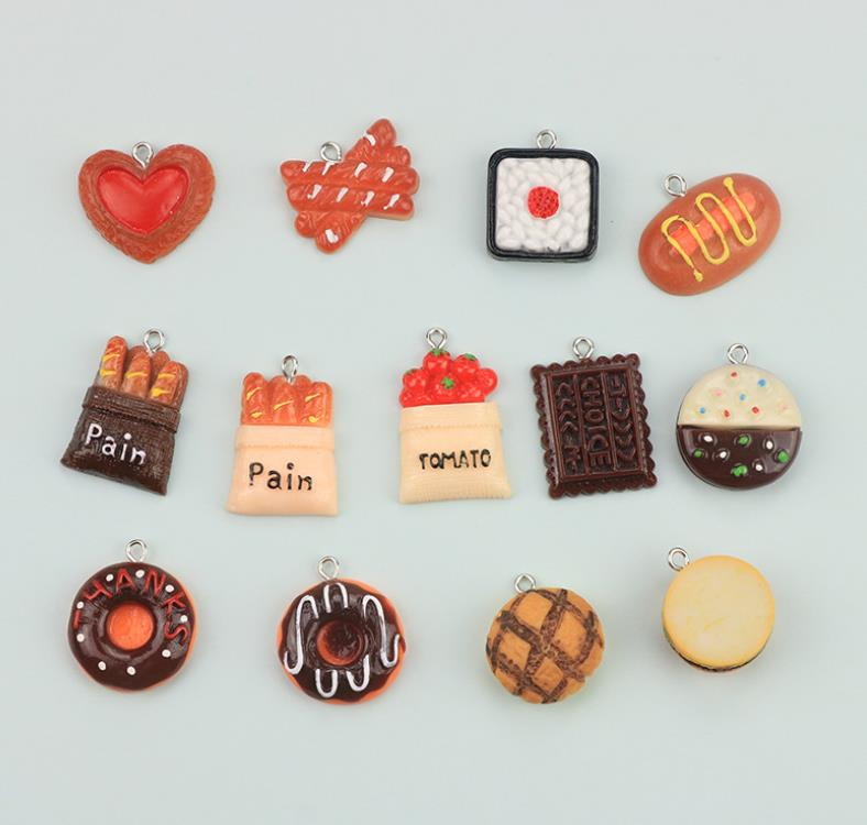 Cake Bread Food Donut Charms Kawaii Flat Back Resin Cartoon Keyring Charms Resin Charms Necklace Pendant For DIY Decoration