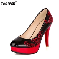 Size 30 48 Printed Leather Women High Heel Shoes New Arrival Fashion Spring Vintage Pumps Brand