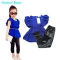 Humor Oso Niñas Ropa Niños Niñas Juegos de Ropa de Moda de Verano Camisa de Vestir azul + Negro Leggings Bebé Fresco Kids 2 Unids trajes