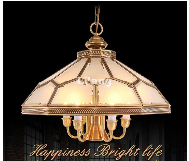 Европейская латунная люстра с подвеской в античном стиле, D55 см, h42см, винтажное медное стекло, LED, AC110V/220 В, 100% гарантия, бесплатная доставка