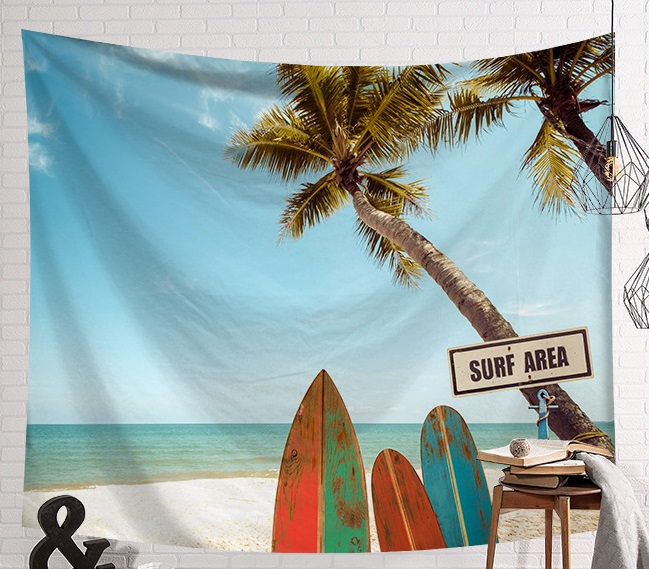 CAMMITEVER Summer Beach Sports Surf Board Wall Hanging Tapestries Blue Sky Decorative Wall Yoga Mats-in Tapestry from Home & Garden