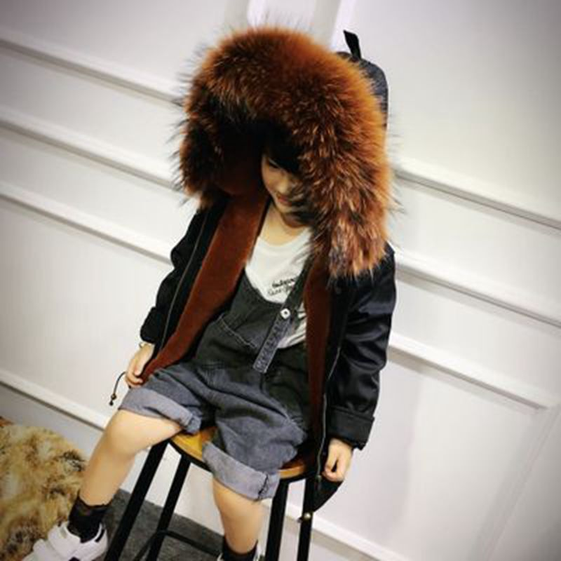 Children Girls Winter Fur Coat Real Raccoon Fur Collar Kids Jacket Sheep Velvet Liner Girls Army Green Jacket Outwears TZ209 5 colors 2017 new long fur coat parka winter jacket women corduroy big real raccoon fur collar warm natural fox fur liner