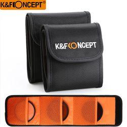 K&F Concept Lens Filter Wallet Case 3 Pockets Filter Bag For Camera Filter Size 49mm - 77mm Holder Pouch UV ND Filter Case