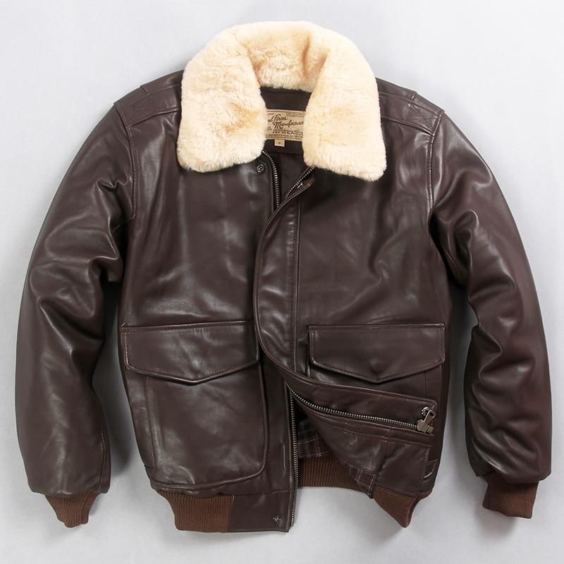 2019 militaly air force flight jacket fur collar genuine leather jacket men winter dark brown sheepskin coat pilot bomber jacket