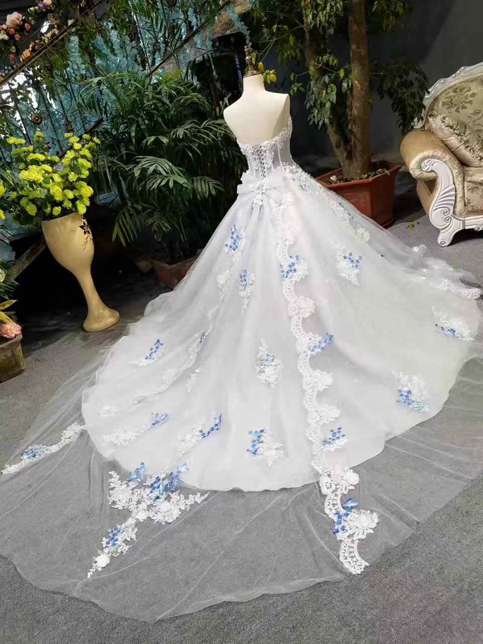12cb576d02 2018 Spring Summer Romantic Luxury Flowers Bow Lace Appliques Glitter Tulle  Tiffany Blue Wedding Dresses White Long Train Bridal