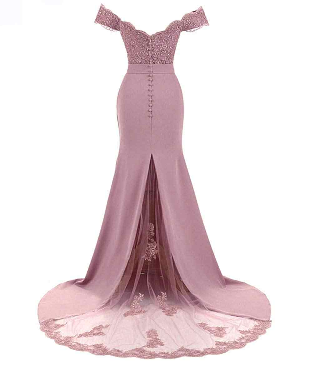 Vestido De dama De honor De la sirena del Vestido De fiesta elegante De la fiesta del hombro para mujer 2019