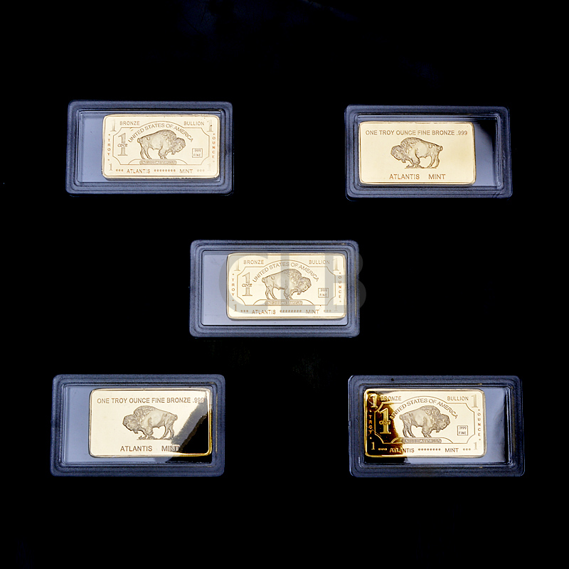 Wholesale American 1 Troy Ounce Fine Bronze Bar The USA Buffalo Design Fake Gold Bar with Plastic Case for Home Decor and Gifts