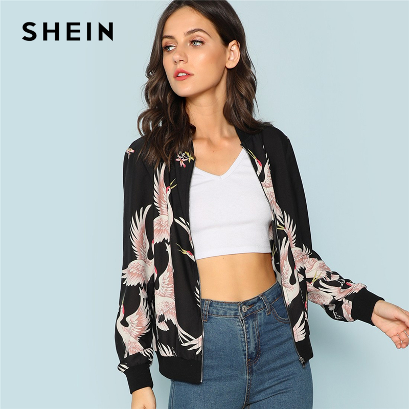 SHEIN Black Flamingo Print Zip Up Jacket Casual Streetwear Animal Bomber Jackets Women Athleisure Modern Lady Autumn Jackets
