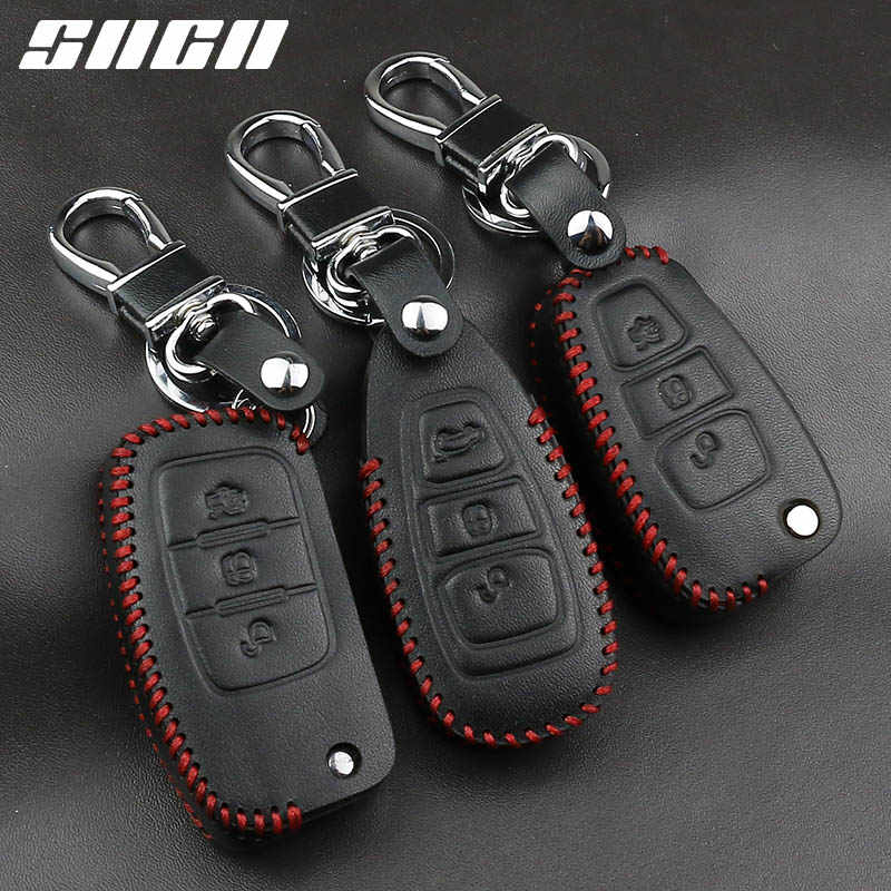 Genuine Leather Car Key Case Covers Keychain For Ford Focus 2 3 4 MK2 MK3 MK4 Kuga Edge Mondeo Fusion Ecosport Fiesta Remote