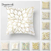 Fuwatacchi Gold Geometric Cushion Cover Gold Leaf Soft Throw Pillow Cover Decorative Sofa Pillow Case Pillowcase New Home Decor