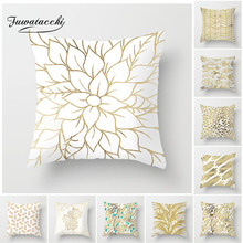 Fuwatacchi Gold Geometric Cushion Cover Gold Leaf Soft Throw Pillow Cover Decorative Sofa Pillow Case Pillowcase New Home Decor цены