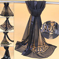 Limited edition silk georgette scarf black silk scarf mulberry silk long scarf handmade knitted