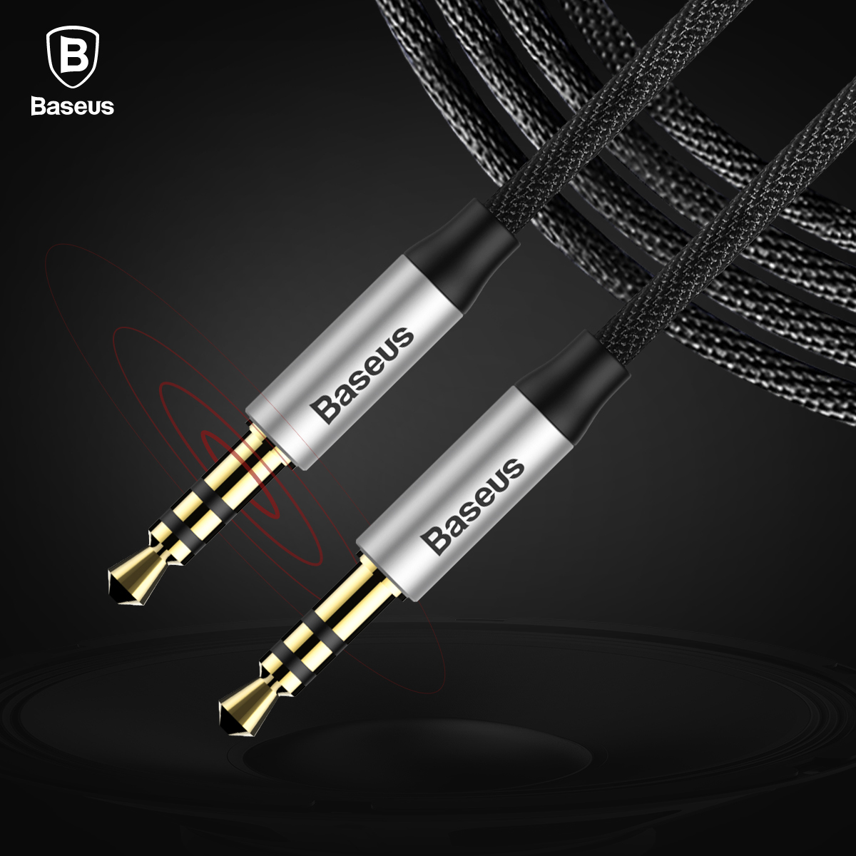 Baseus 35mm Gold Plated Audio Cable Music Series Black For Iphone