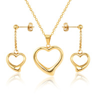 Gold color hollow heart jewelry sets for women bisuteria, stainless steel earrings necklace set collares grandes de moda 2017