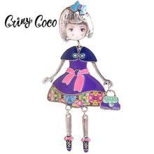 Cring Coco Enamel Pin Lovely Doll Broches Vintage Brooch Women Statement Metal Alloy Jewelry Ladies Hijab Pins for Scarf Dresses