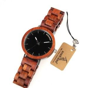 Image 4 - בובו ציפור M16 אדום אלמוג אנלוגי שעון עם עץ בציר שעון ורצועה עבור גברים יכול מותאם אישית כמתנה