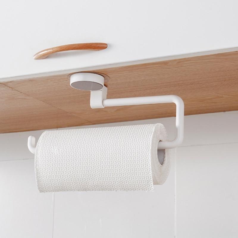 Wall Mounted Kitchen Storage Holder Vacuum Sucker Paper Towel Rack Adhesive Bathroom Towel Shelf Wall Hanging Roll Paper Rack מסרק כינים