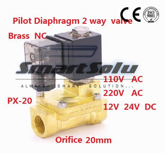 Free shipping Normally Closed 2 way Pilot Diaphragm Brass electric 24v dc water air Solenoid Valve 3/4 BSP 20mm PX 20 NBR