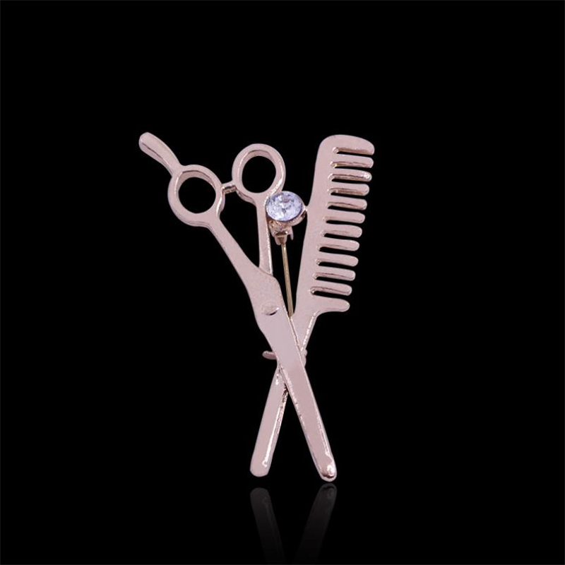 DoreenBeads 4.8x3cm Safety Pin Brooch for Men Women Creative Scissors Comb Pins Brooches for Suit Shirt Sweater Coat Scarf Bags