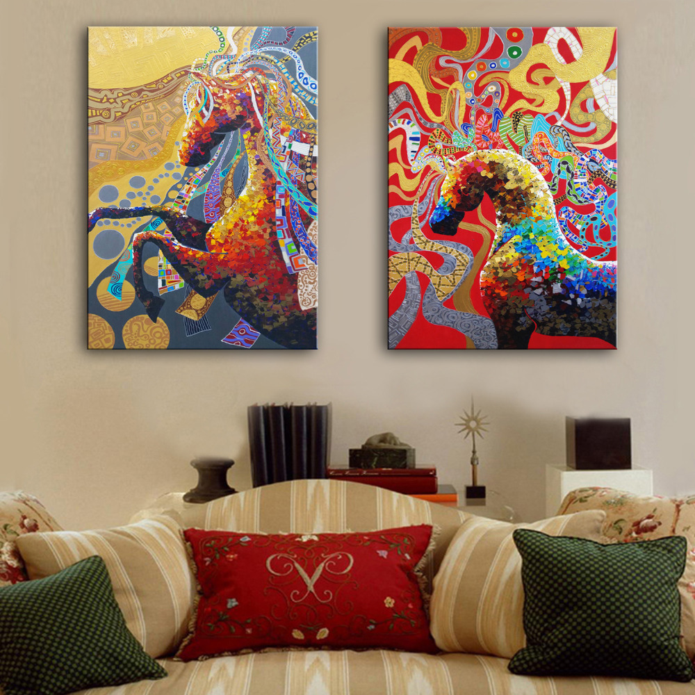 popular colorful horse painting buy cheap colorful horse painting free shipping hand painted oil painting colorful horse decoration painting set of 2 home decor modern