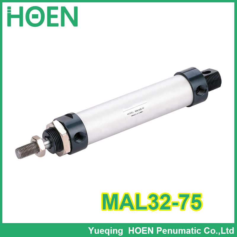 MAL32-75 High quality double acting pneumatic small cylinders aluminum alloy 32mm bore 75mm stroke mini air cylinder auminium alloy mini air cylinder mal32 175 bore 32mm stroke 175mm double acting pneumatic small cylinders