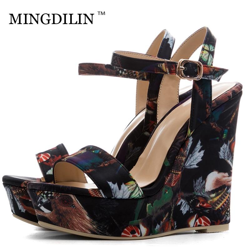MINGDILIN Summer Women's Wedges Sandals Platform Woman Heels Shoes Black Women's High Heels Sandals Fashion Zapatos Mujer 2018 цена