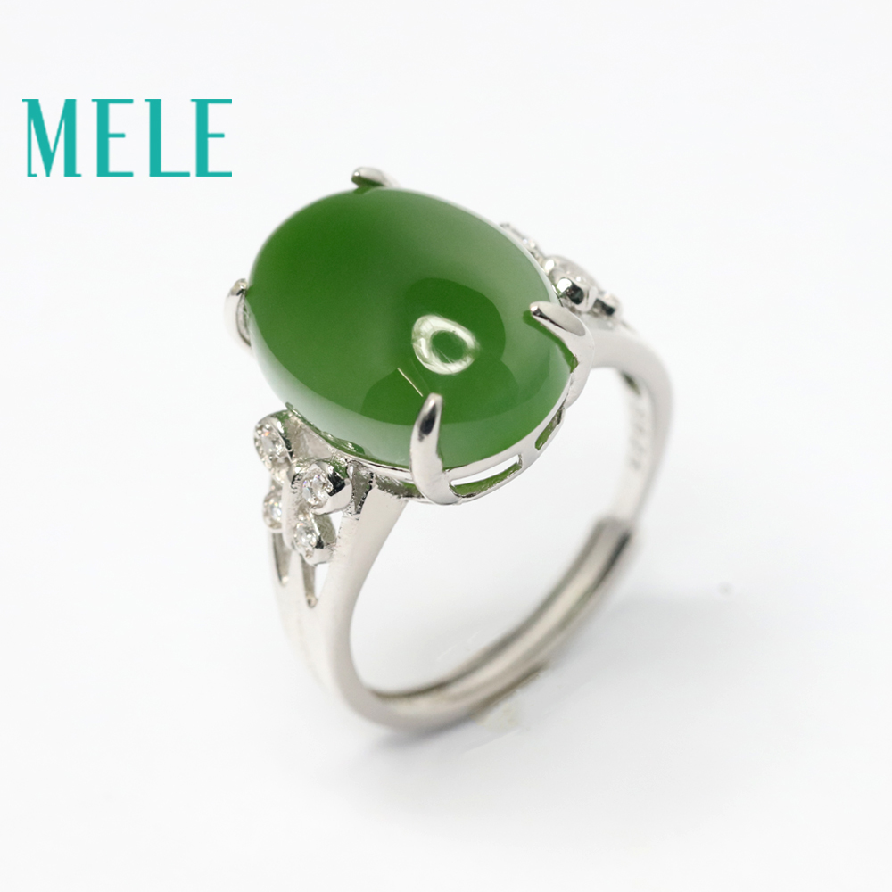 MELE natural green jasper ring for women,12mmX16mm Big Oval cut jade stone in butterfly pattern,fine jewelry with 925 silver цена