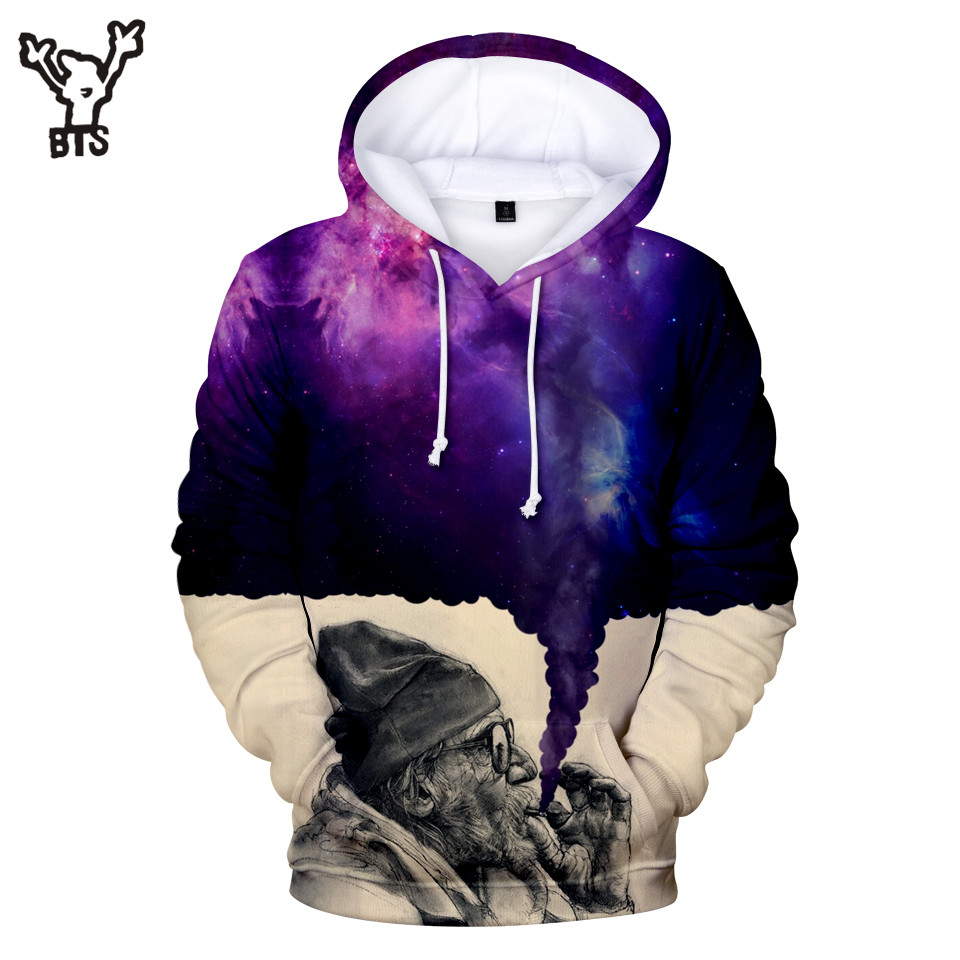 2018 BTS Smoker 3D Hoodies Women Hot Sale Popular Autumn Funny Hooides Sweatshirts Winter Men Anime Hoodies Print Plus Size 4XL