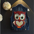 Children denim vest Boys and girls casual children's clothing 2016 Spring and Autumn Children vest Denim Vest baby owl