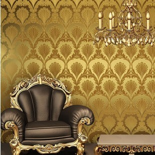 Home Decoration Yellow Color Wallpaper Gold Foil Peacock Feather 3d