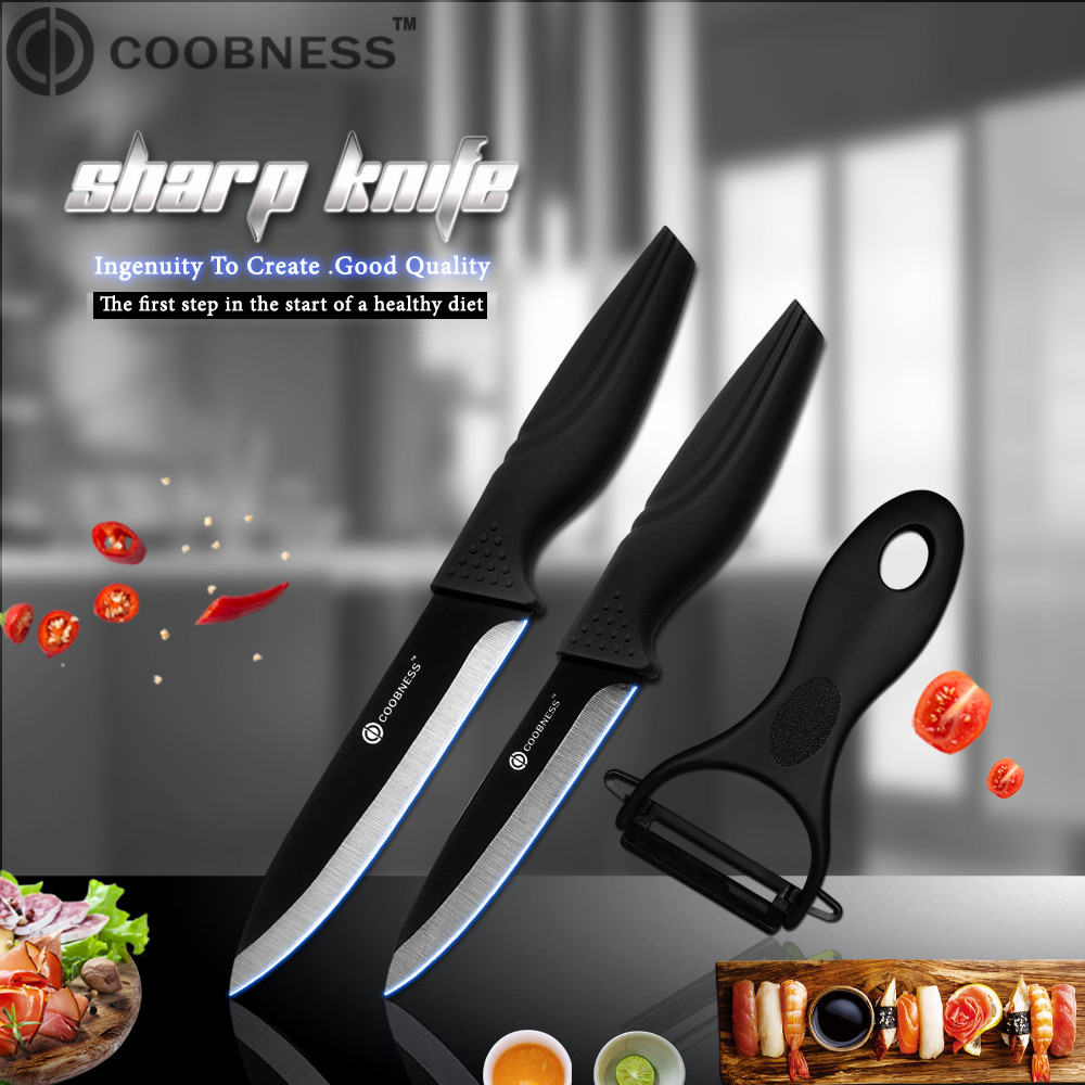 COOBNESS Brand 2 Piece Kitchen Knife And Sharp Peeler Japanese Black Zirconia Ceramic Cooking Knife 3 4 5 6 Ceramic Knife image