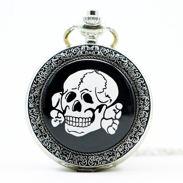 Fashion Silver Skull Pocket Watch Chain Vintage Pendant Pocket Watches Fashion G