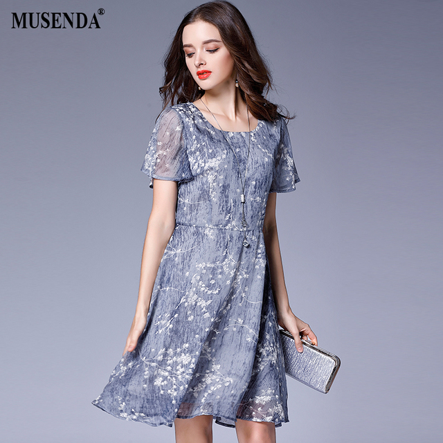US $15.52 |MUSENDA Plus Size Women Chiffon Print Tunic Draped Dress 2017  Summer Sundress Female Party Beach Dresses Vestido Clothing Robe-in Dresses  ...