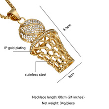 HIP Hop Iced Out Bling Full Rhinestone Men Basketball Pendants Necklaces