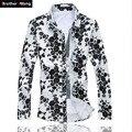 Mais o tamanho 5XL 6XL camisa homens Moda Floral Manga Longa Queda camisa Casual Masculino Camisa de Algodão Impresso Havaiana Camisas Venda Quente