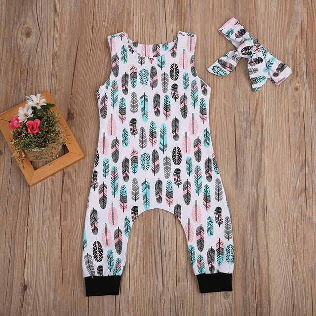 d2fae464d17 2018 Cute Infant Baby Boys Girls Feather Bodysuit Jumpsuit Headband Outfits  fashion trend simple and generous sellwell CH