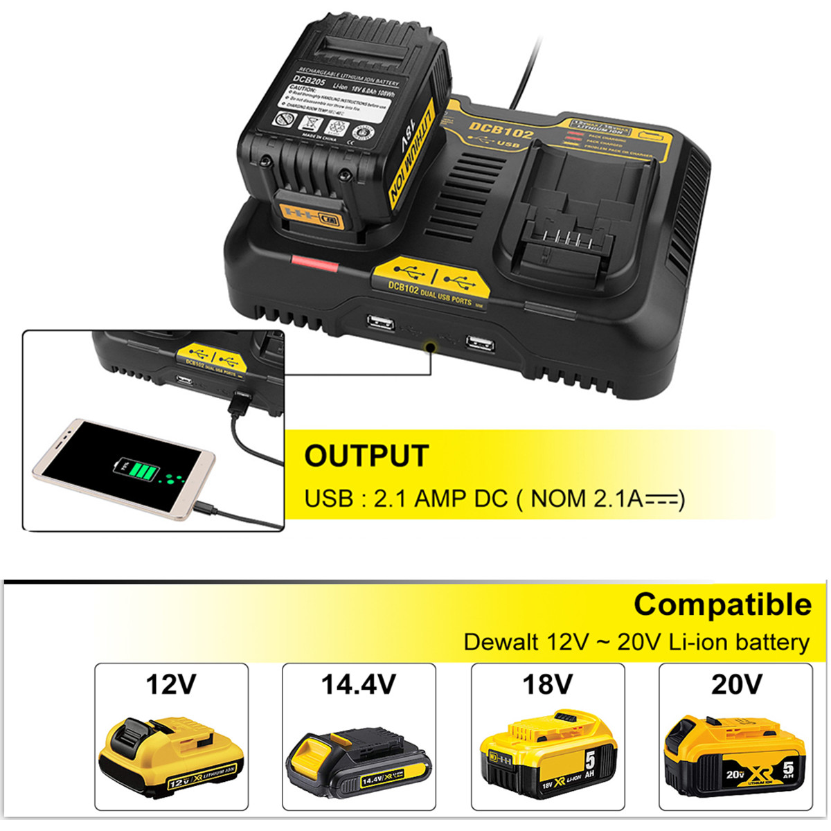 Li-Ion Battery Charger 4.5A Max For Dewalt 10.8V 12V 14.4V 18V 20V  DCB105 DCB101 DCB102 DCB112 DCB205 With Dual USB Port
