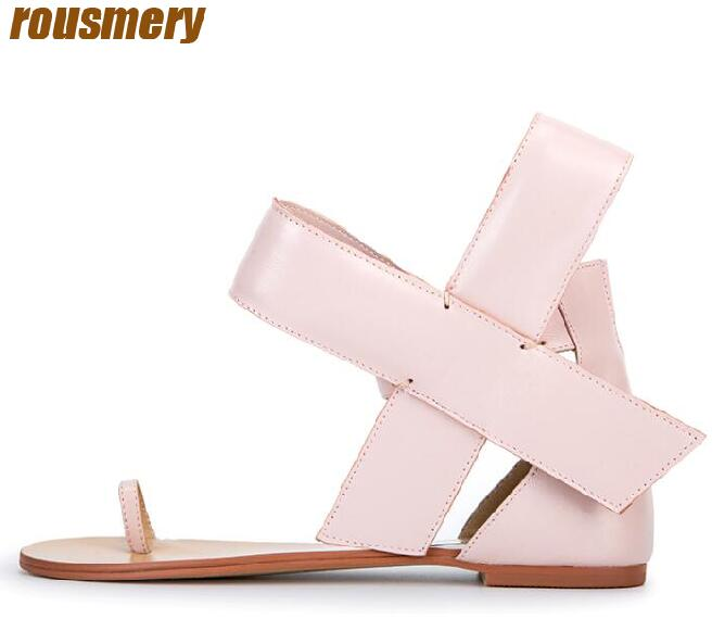 2017 Hot Big Bow Side Women Fashion Sandals Open Toe Classic Style Ladies Flat Ankle Buckle Female Dress Shoe Party