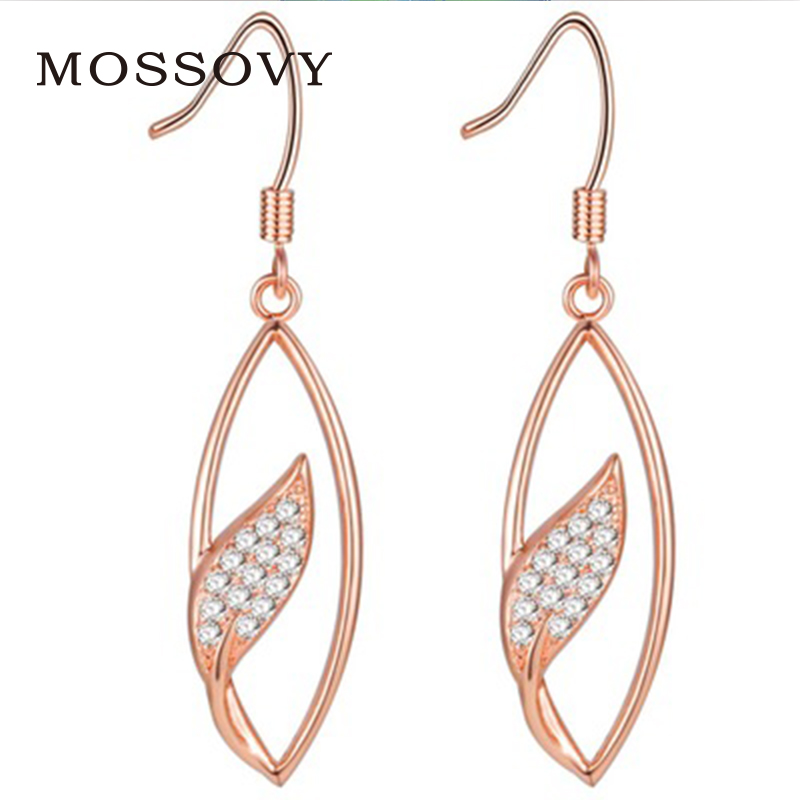 Mosssovy Rhinestone Hollow Out Leaf Hoop Earrings Rose Gold Color Exquisite Ornaments  Delicate Zircon Fashion Jewelry 985cffe235db