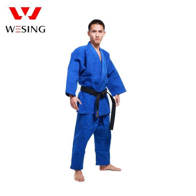 bas prix 41357 ac72e € 103.91 |Wesing professionnel Judo uniforme pour hommes femmes plein coton  bleu blanc Judo Gi costume avec ceinture Durable pour la compétition ...