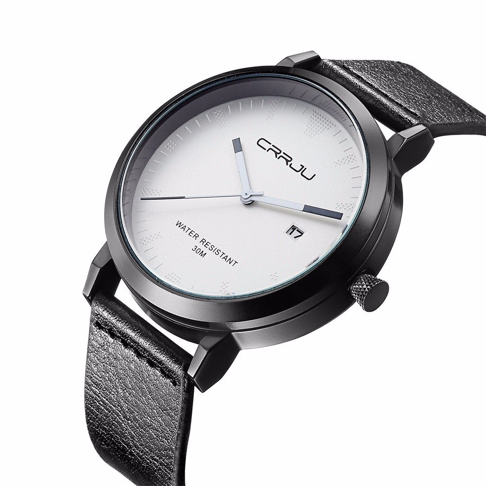 Topdudes.com - CRRJU Top Dude's Sports Casual Leather Military Wrist Quartz Watch Relogio Masculino with Date Display