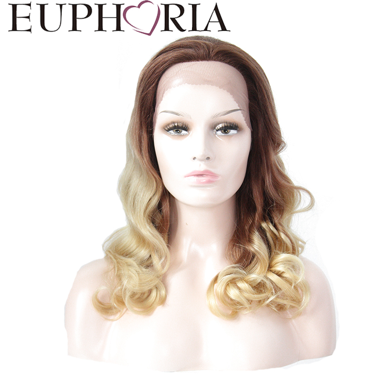EUPHORIA Human Hair Loose Wave Lace front Wigs 20 Inches Ombre Blonde Brown color 100% B ...
