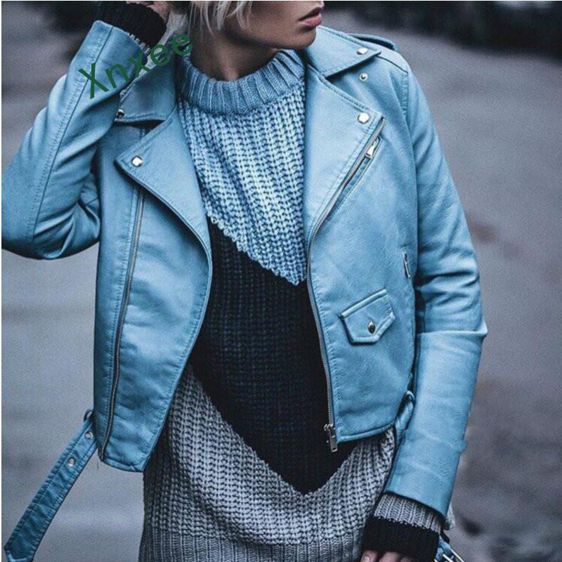 Xnxee 2019 New Fashion Women Winter Wine Red Faux   Leather   Jackets Lady Bomber Motorcycle Cool Outerwear Coat with Belt Hot Sale