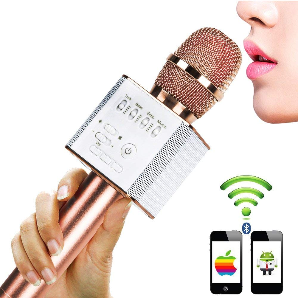 Karaoke Microphones Q9, Wireless Bluetooth 4 in 1 Portable Handheld Home KTV Player - Compatible with Android and iOS