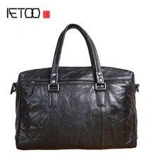 Oryginalna ręcznie robiona teczka męska skórzana retro aktówka biznesowa torba podróżna o dużej pojemności skórzana torba męska vintage