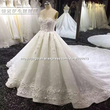 2017 Luxury Lace Ball Gown Wedding Dress Tulle Robe De Mariage Bridal Gowns Sweep Train Wedding Dresses vestidos de novia