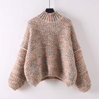 Women's Sweaters Korean Style Loose Short Design Thick Sweet Autumn Winter Sweater Pullover High Collar Black Beige