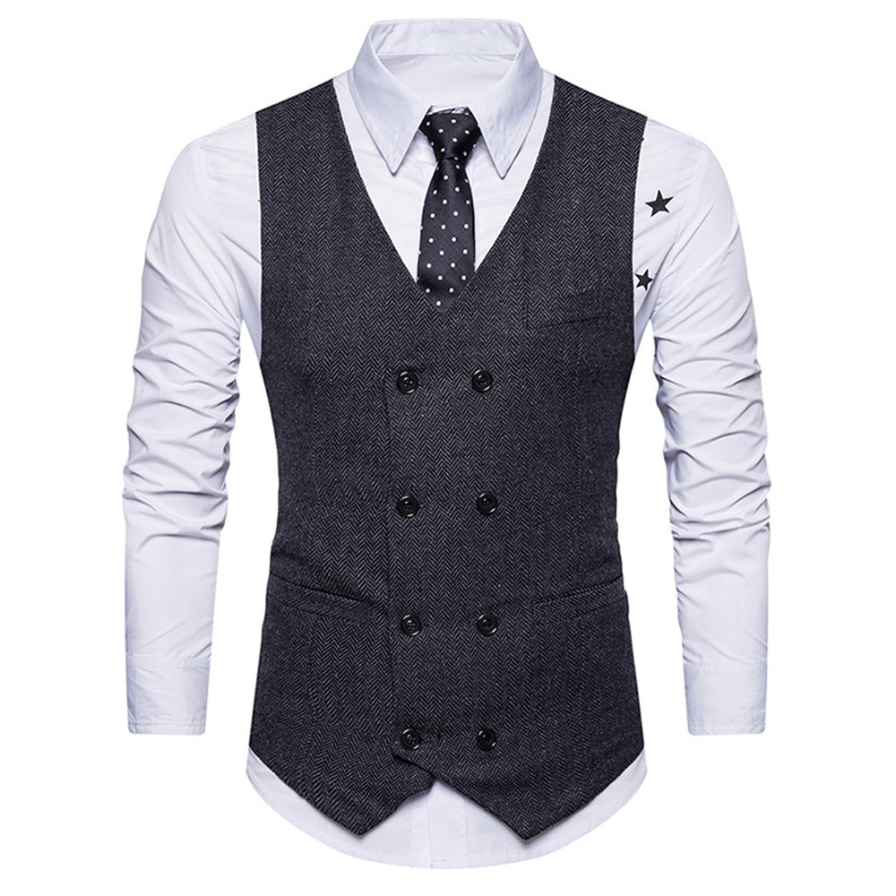 Mens Suit Vest Formal Tweed Check Double Breasted Waistcoat Retro Slim Fit Suit Sleeveless Jacket Vests D90628